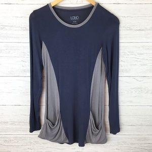 LOGO Lori Goldstein Blue and Grey Pocket Tunic